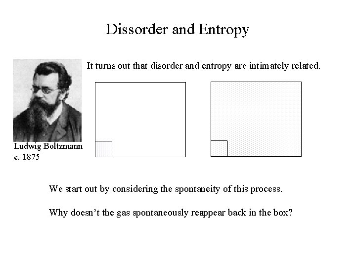 Dissorder and Entropy It turns out that disorder and entropy are intimately related. Ludwig