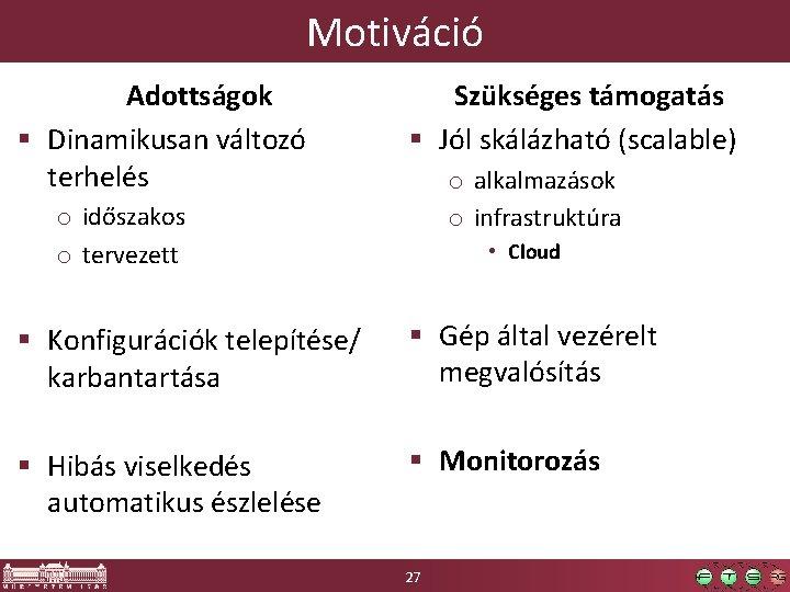 Motiváció Adottságok § Dinamikusan változó terhelés Szükséges támogatás § Jól skálázható (scalable) o alkalmazások