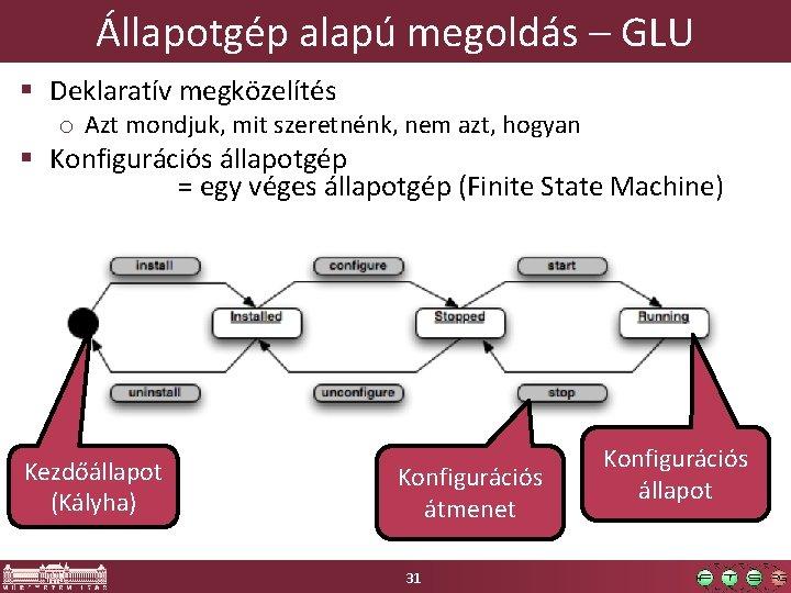 Állapotgép alapú megoldás – GLU § Deklaratív megközelítés o Azt mondjuk, mit szeretnénk, nem
