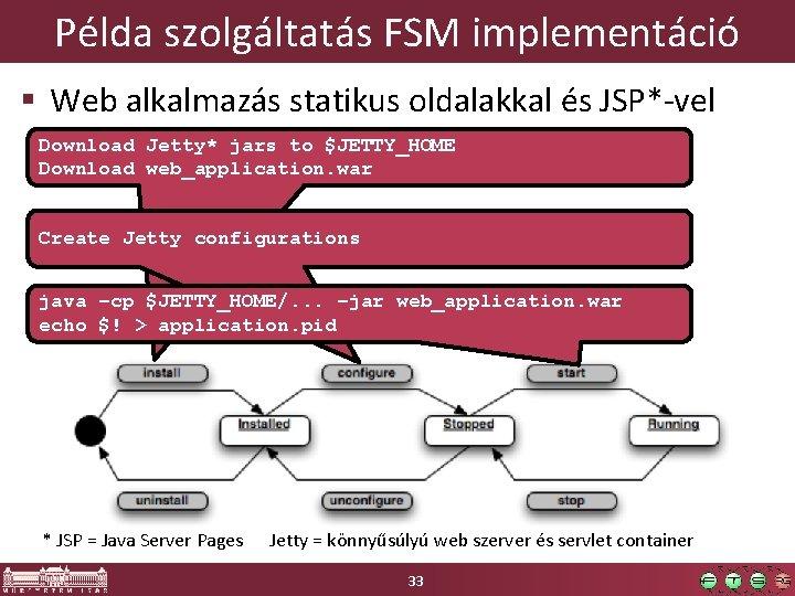 Példa szolgáltatás FSM implementáció § Web alkalmazás statikus oldalakkal és JSP*-vel Download Jetty* jars
