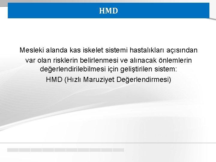 HMD Mesleki alanda kas iskelet sistemi hastalıkları açısından var olan risklerin belirlenmesi ve alınacak