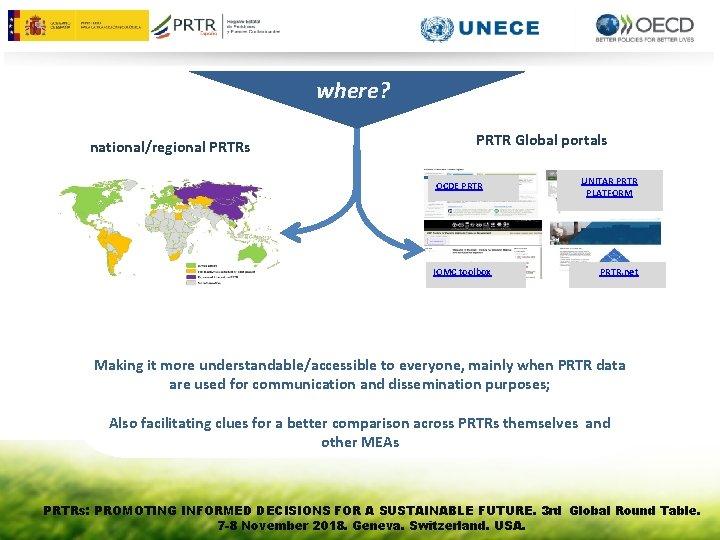 where? national/regional PRTRs PRTR Global portals OCDE PRTR IOMC toolbox UNITAR PRTR PLATFORM PRTR.