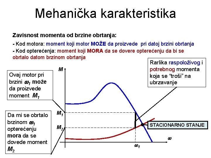 Mehanička karakteristika Zavisnost momenta od brzine obrtanja: - Kod motora: moment koji motor MOŽE