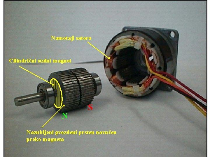 Namotaji satora Cilindrični stalni magnet N S Nazubljeni gvozdeni prsten navučen preko magneta