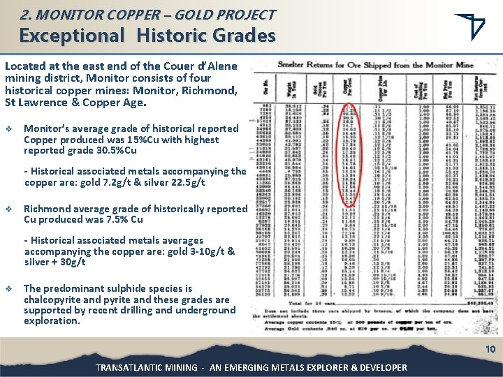 2. MONITOR COPPER – GOLD PROJECT Exceptional Historic Grades Located at the east end