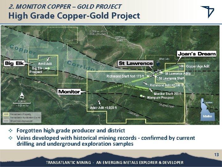 2. MONITOR COPPER – GOLD PROJECT High Grade Copper-Gold Project v v Forgotten high
