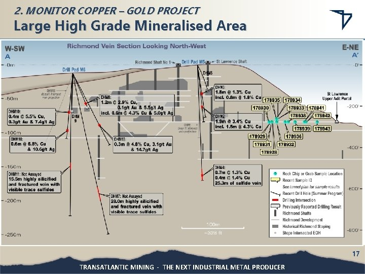 2. MONITOR COPPER – GOLD PROJECT Large High Grade Mineralised Area 17 TRANSATLANTIC MINING