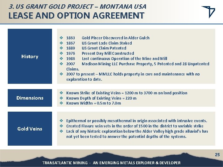 3. US GRANT GOLD PROJECT – MONTANA USA LEASE AND OPTION AGREEMENT 1863 Gold