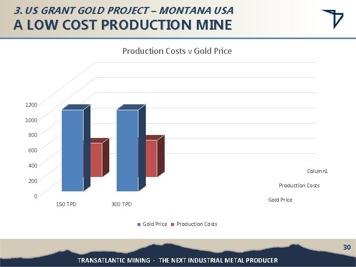 3. US GRANT GOLD PROJECT – MONTANA USA A LOW COST PRODUCTION MINE Production