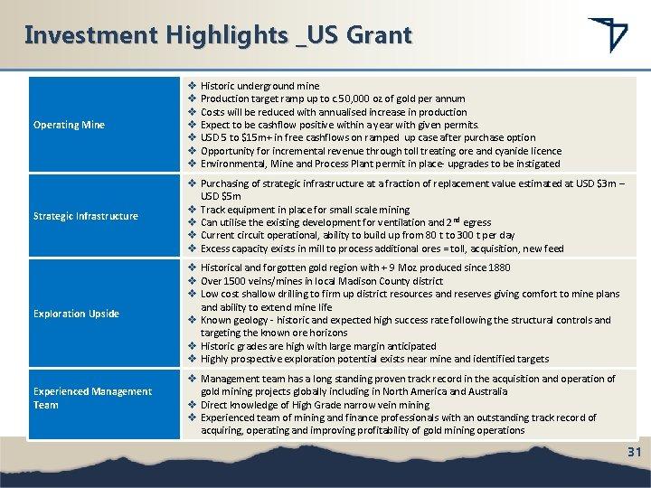 Investment Highlights _US Grant Operating Mine v Historic underground mine v Production target ramp