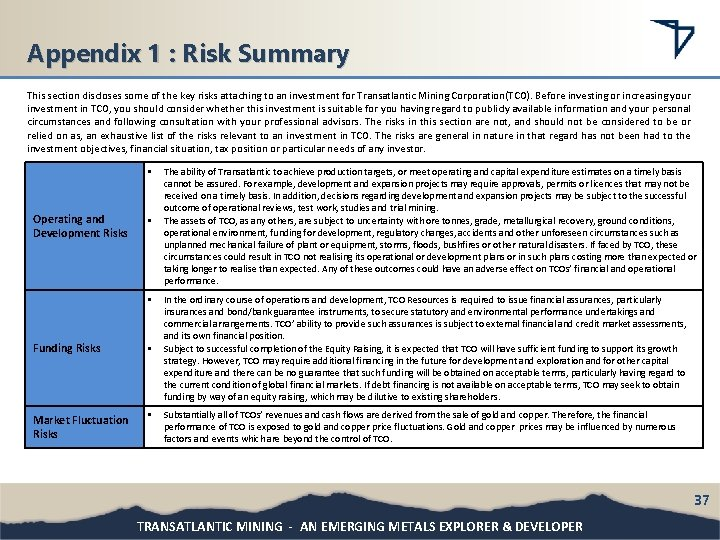 Appendix 1 : Risk Summary This section discloses some of the key risks attaching