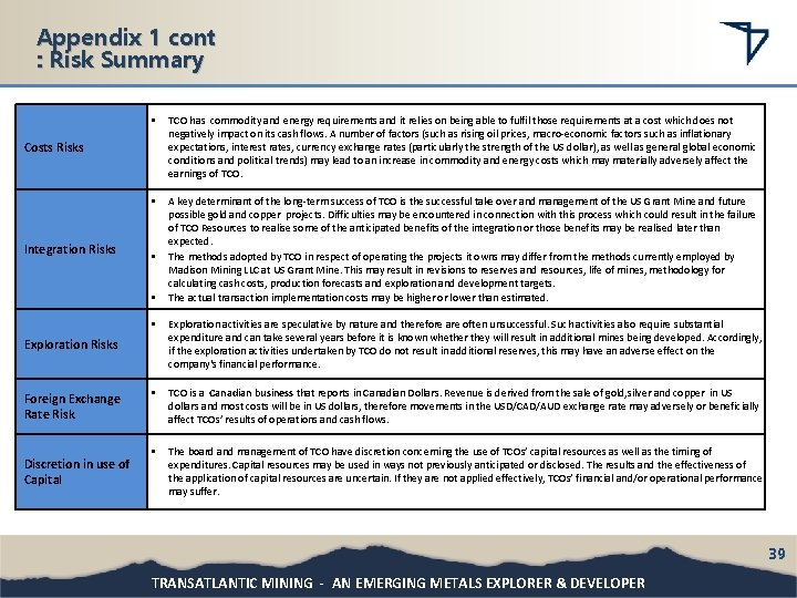 Appendix 1 cont : Risk Summary • TCO has commodity and energy requirements and