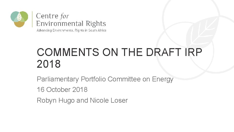 CER Comments on the Draft IRP 2018 COMMENTS ON THE DRAFT IRP 2018 Parliamentary