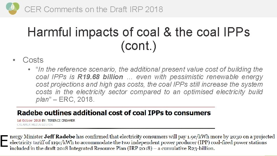 CER Comments on the Draft IRP 2018 Harmful impacts of coal & the coal