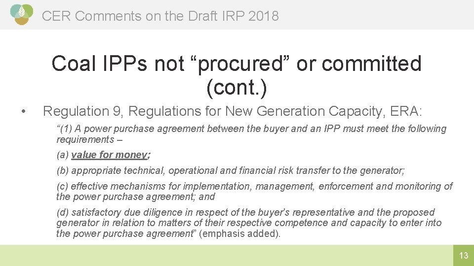 """CER Comments on the Draft IRP 2018 Coal IPPs not """"procured"""" or committed (cont."""