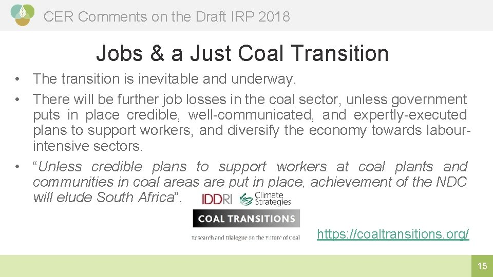 CER Comments on the Draft IRP 2018 Jobs & a Just Coal Transition •