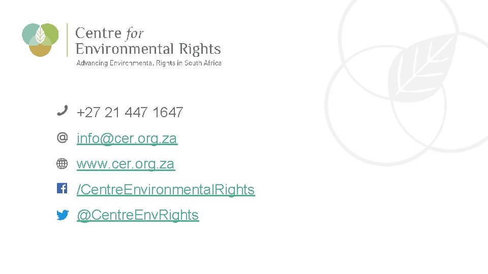 CER Comments on the Draft IRP 2018 +27 21 447 1647 info@cer. org. za