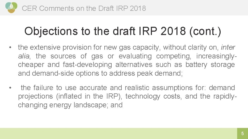 CER Comments on the Draft IRP 2018 Objections to the draft IRP 2018 (cont.