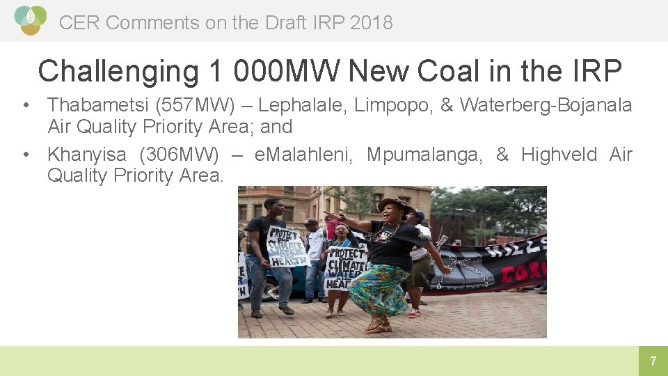 CER Comments on the Draft IRP 2018 Challenging 1 000 MW New Coal in