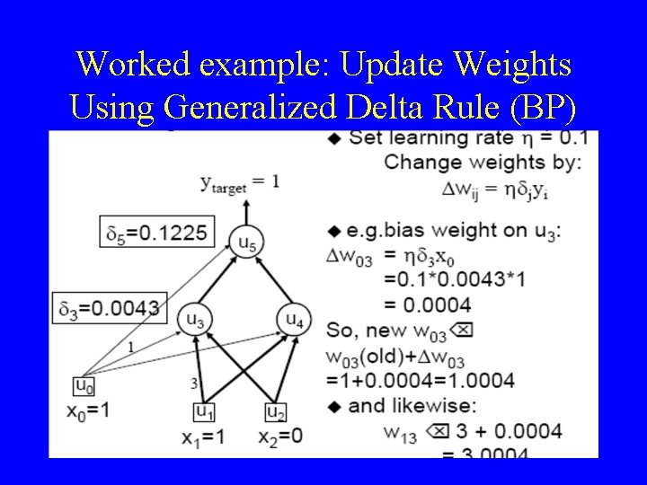 Worked example: Update Weights Using Generalized Delta Rule (BP) 30