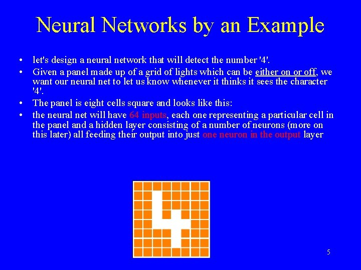 Neural Networks by an Example • let's design a neural network that will detect