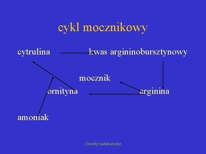cykl mocznikowy cytrulina kwas argininobursztynowy mocznik ornityna arginina amoniak Choroby metaboliczne