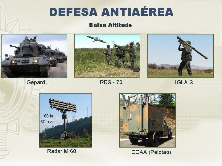 DEFESA ANTIAÉREA Baixa Altitude Gepard RBS - 70 IGLA S 60 km 60 alvos