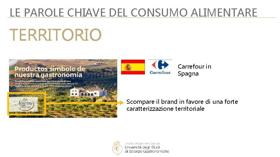 LE PAROLE CHIAVE DEL CONSUMO ALIMENTARE TERRITORIO Carrefour in Spagna Scompare il brand in