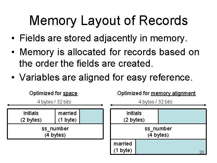 Memory Layout of Records • Fields are stored adjacently in memory. • Memory is
