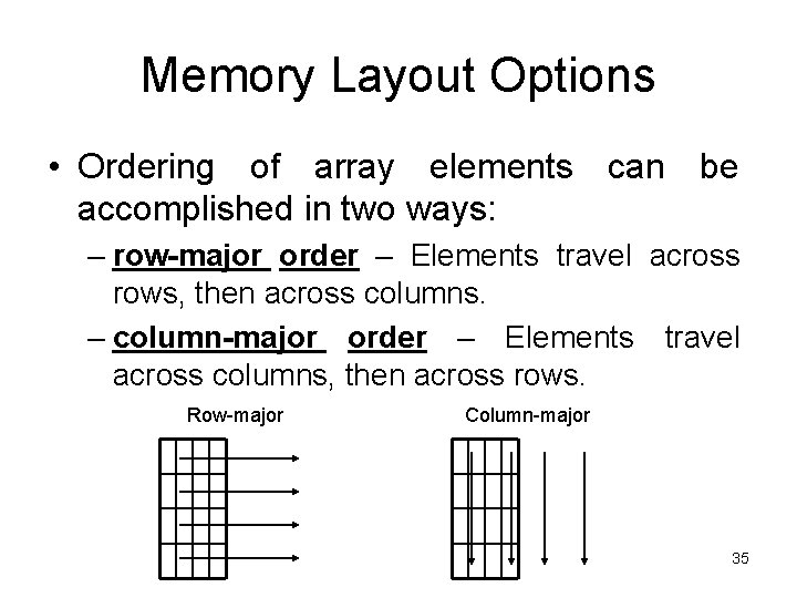 Memory Layout Options • Ordering of array elements can be accomplished in two ways: