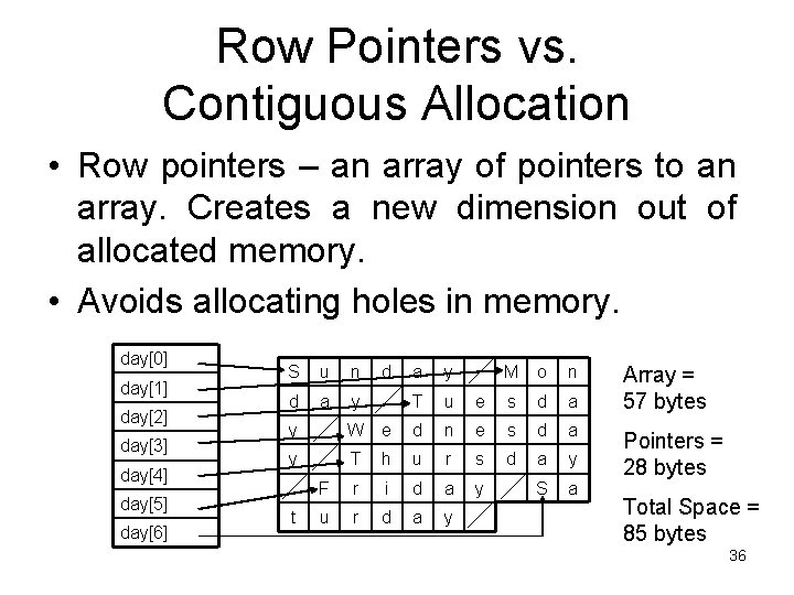 Row Pointers vs. Contiguous Allocation • Row pointers – an array of pointers to