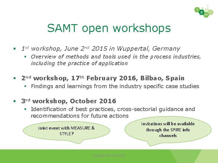 SAMT open workshops § 1 st workshop, June 2 nd 2015 in Wuppertal, Germany