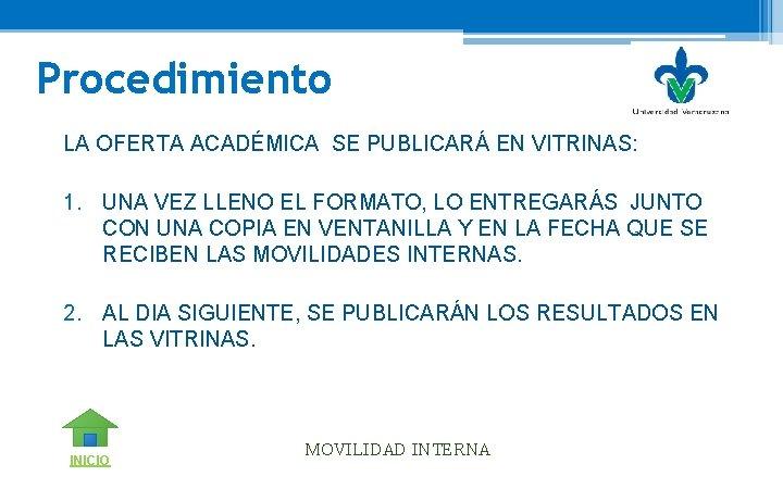 Procedimiento LA OFERTA ACADÉMICA SE PUBLICARÁ EN VITRINAS: 1. UNA VEZ LLENO EL FORMATO,