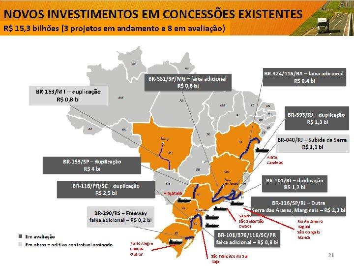 R$ 15, 3 bilhões (3 projetos em andamento e 8 em avaliação) BR-163/MT –