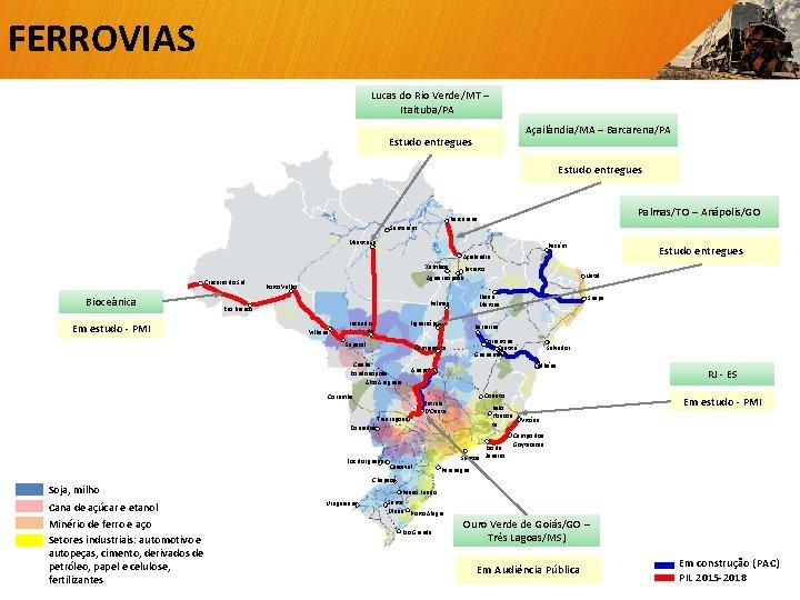 FERROVIAS Lucas do Rio Verde/MT – Itaituba/PA Açailândia/MA – Barcarena/PA Estudo entregues Palmas/TO –