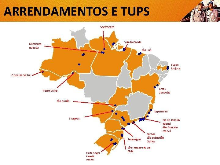 ARRENDAMENTOS E TUPS Santarém Vila do Conde Miritituba Itaituba São Luís Suape Ipojuca Cruzeiro