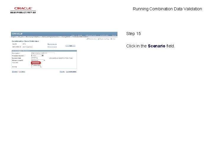 Running Combination Data Validation Step 15 Click in the Scenario field.