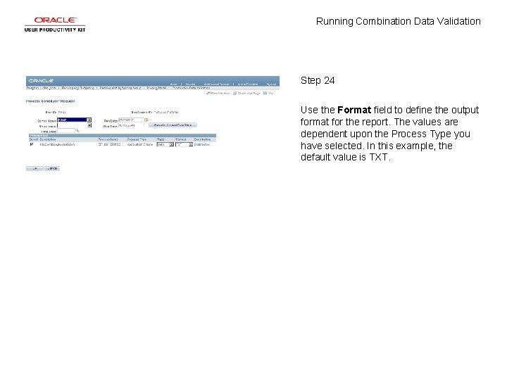 Running Combination Data Validation Step 24 Use the Format field to define the output