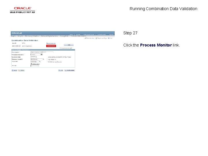 Running Combination Data Validation Step 27 Click the Process Monitor link.