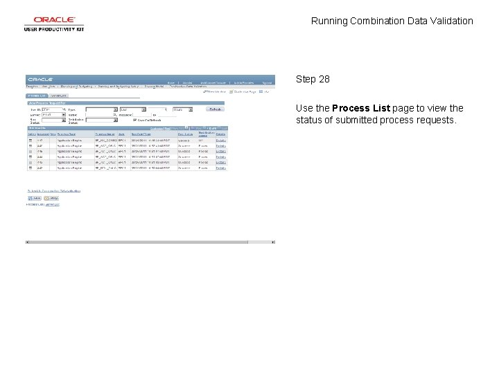 Running Combination Data Validation Step 28 Use the Process List page to view the