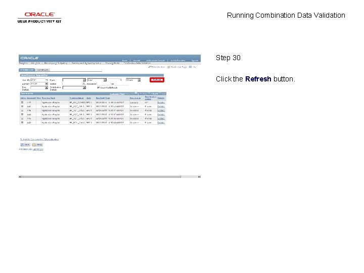 Running Combination Data Validation Step 30 Click the Refresh button.