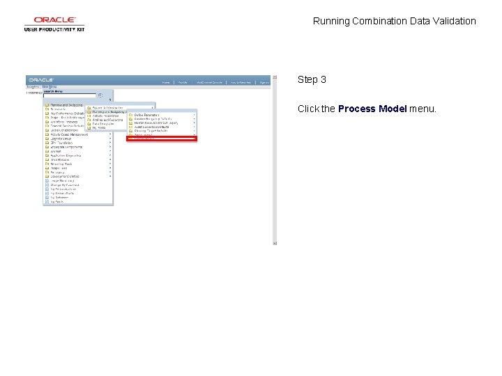 Running Combination Data Validation Step 3 Click the Process Model menu.
