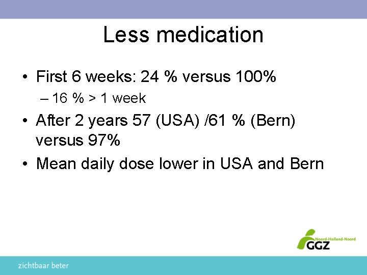 Less medication • First 6 weeks: 24 % versus 100% – 16 % >