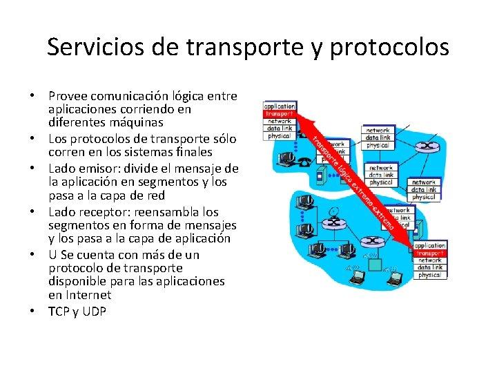 Servicios de transporte y protocolos • Provee comunicación lógica entre aplicaciones corriendo en diferentes