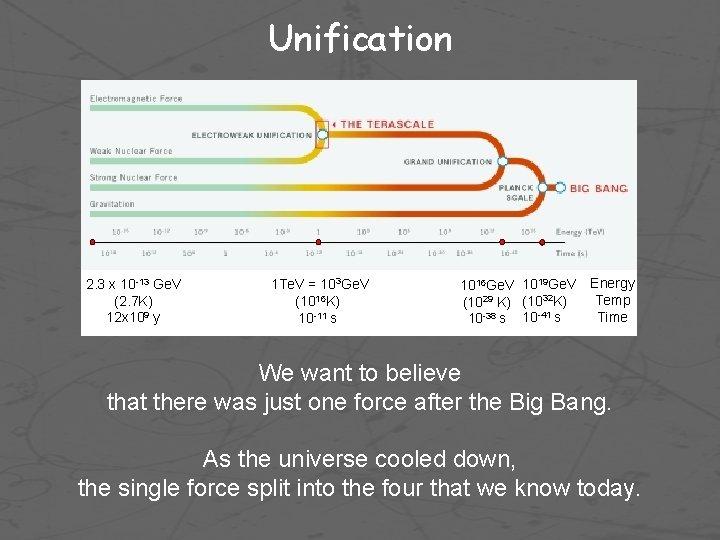 Unification 2. 3 x 10 -13 Ge. V (2. 7 K) 12 x 109