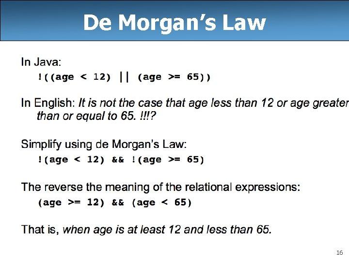 De Morgan's Law 16