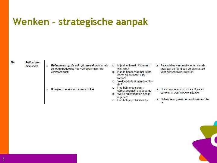 Wenken – strategische aanpak 5