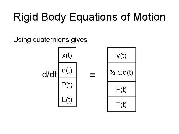 Rigid Body Equations of Motion Using quaternions gives d/dt x(t) v(t) q(t) ½ ωq(t)