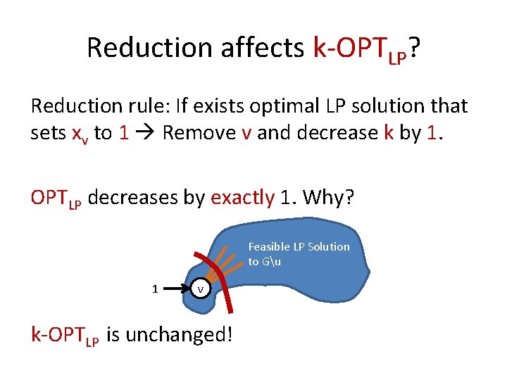 Reduction affects k-OPTLP? Reduction rule: If exists optimal LP solution that sets xv to