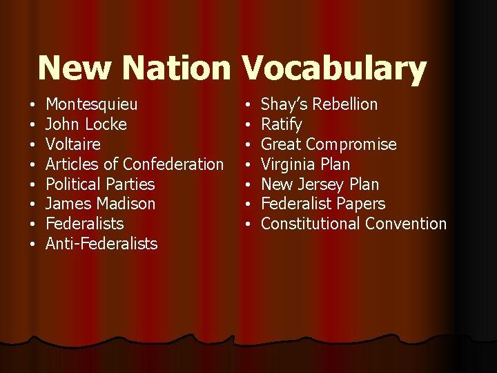 New Nation Vocabulary • • Montesquieu John Locke Voltaire Articles of Confederation Political Parties
